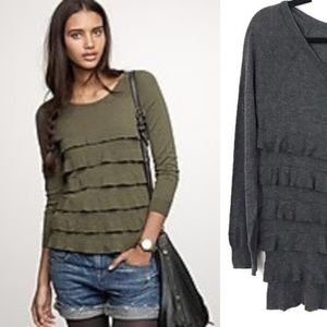 JCrew Grey Cotton Wool Tiered Popover Sweater